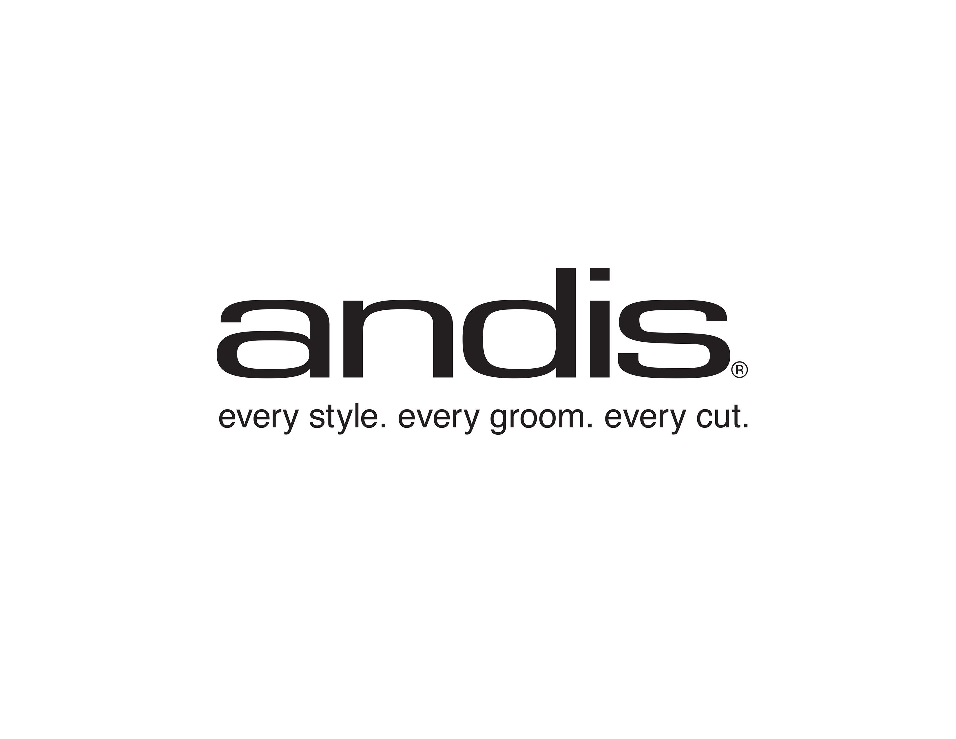 """Andis logo with tagline, """"every style. every groom. every cut."""""""